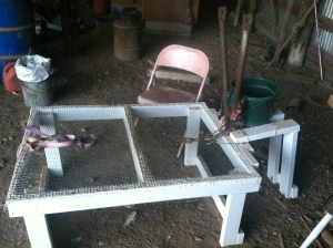 Here is the milking table with chair and trash bucket.