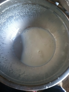 A stainless steel bowl helps the milk stay tasting fresh. Plastics or aluminum make it taste off.